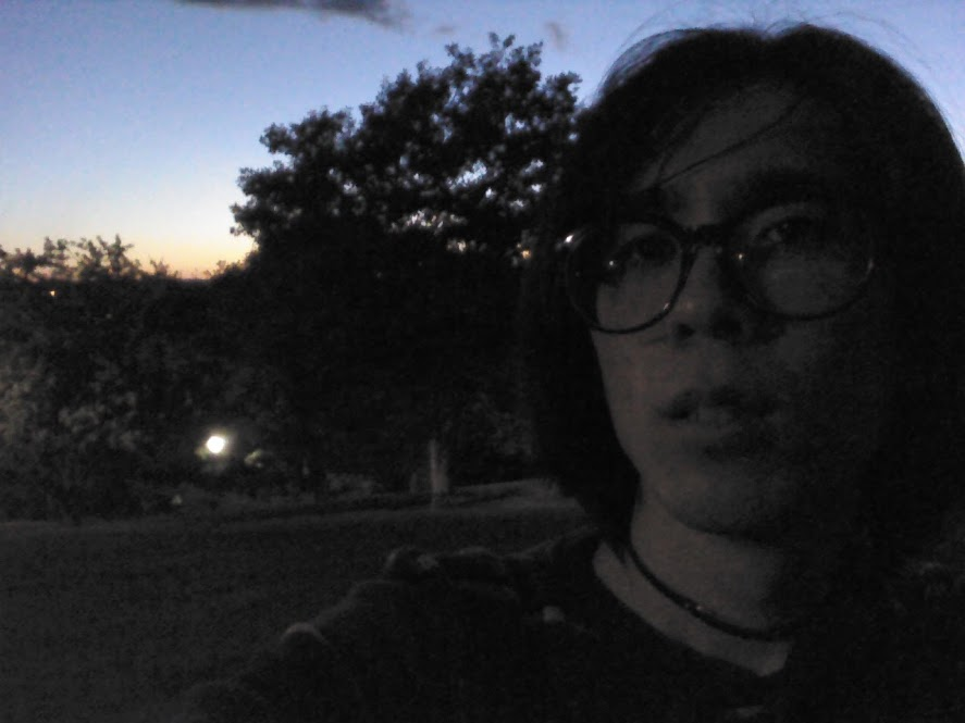 Melancholy, grainy photo of Marina sitting in a park at night.