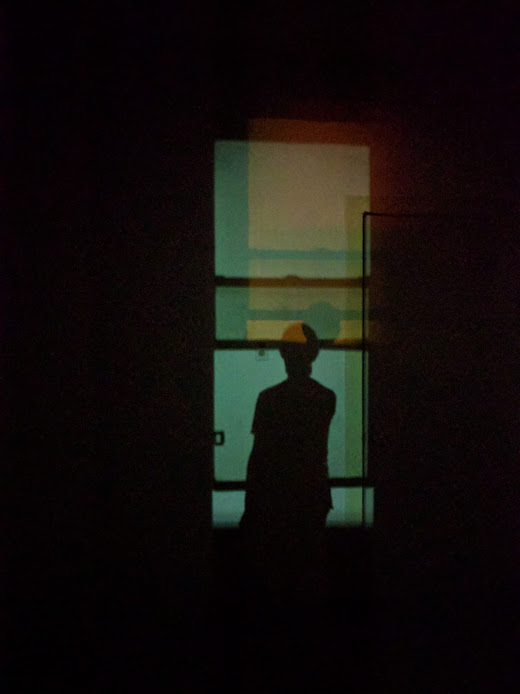 Photo of Marina's silhouette in her dark, empty apartment.