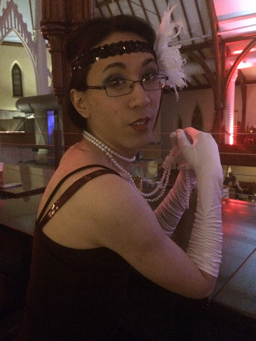 Marina at the party, dressed as a flapper.